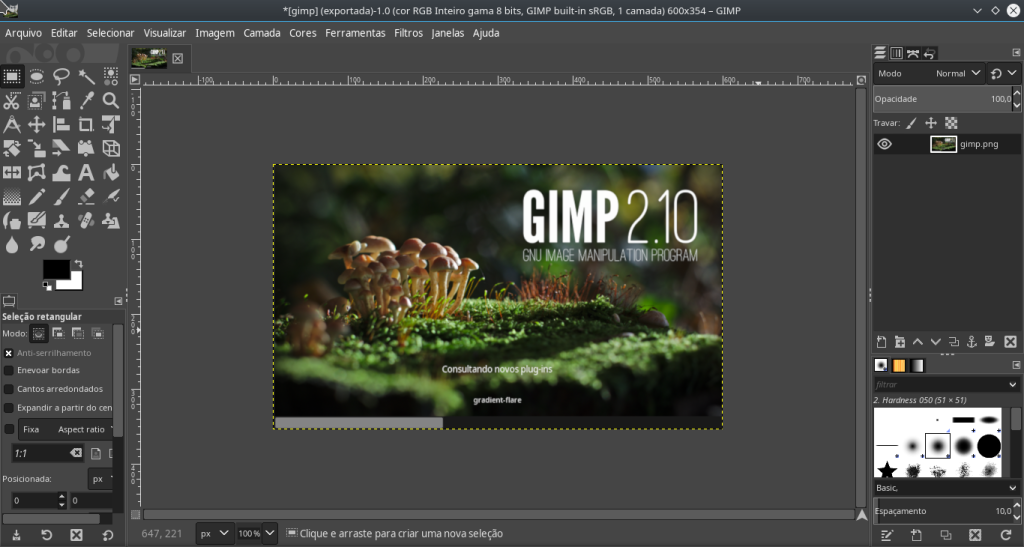 Tela inicial do GIMP