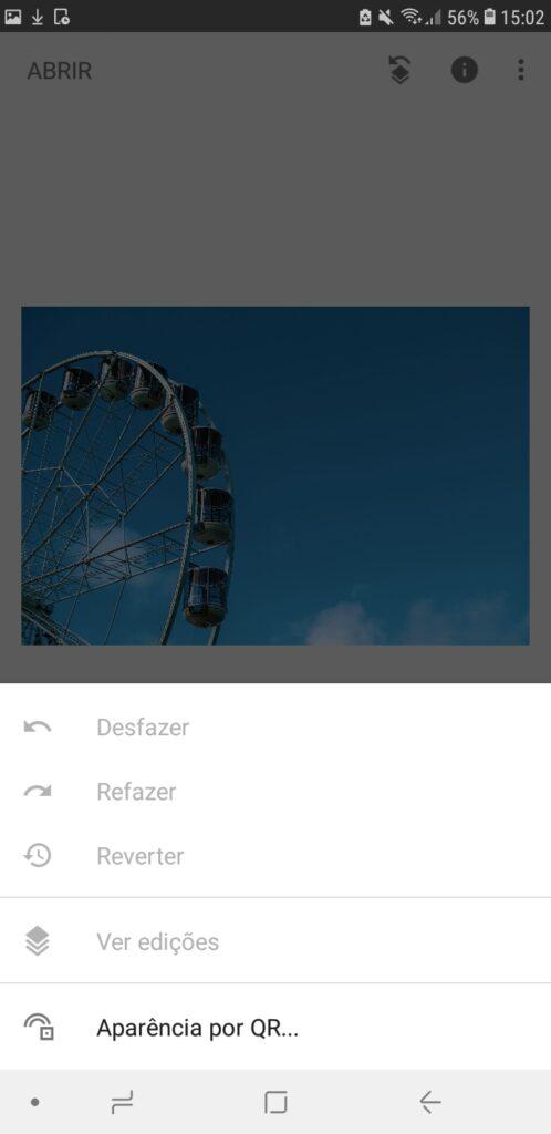 Snapseed, aplicativo no android, com destaque para aba desfazer e o histórico de edições