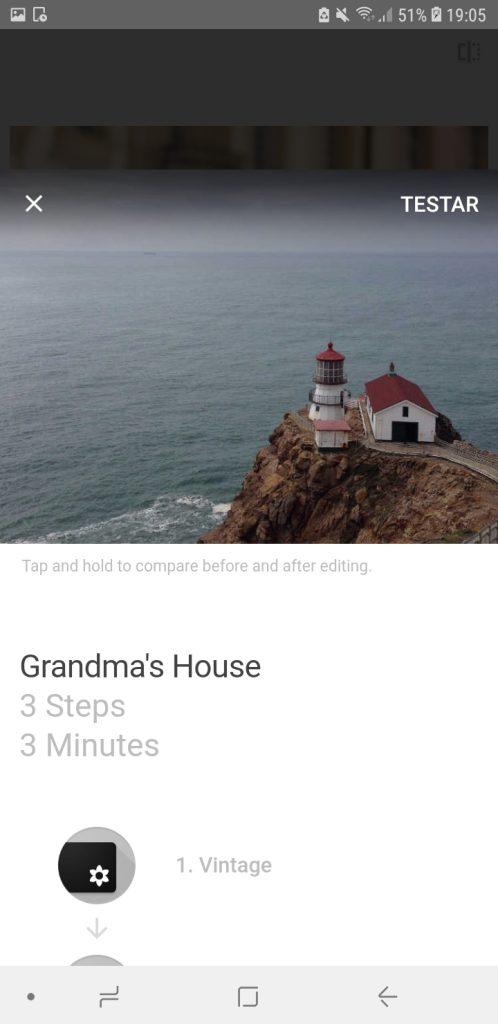 Snapseed, aplicativo no android, com três imagens capturadas da tela, mostrando um farol e a legenda grandma's house; passo a passo de edição e aplicação do filtro
