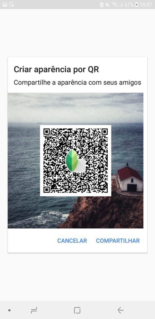 """Snapseed, aplicativo no android, com foco na aba """"criar aparência por qr"""""""