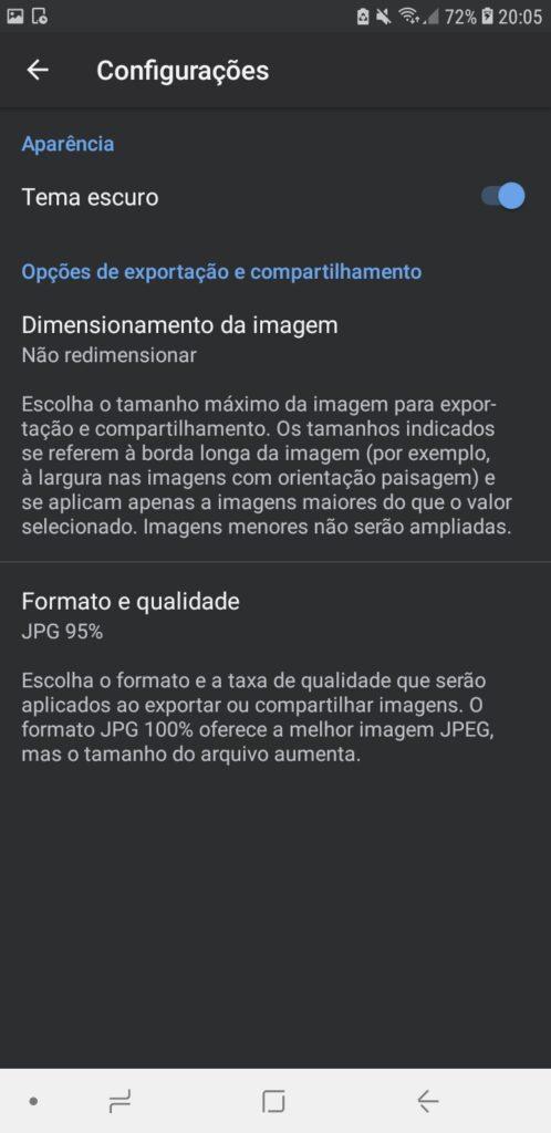 Snapseed, aplicativo no android, mostrando tela de configurações (tema escuro, dimensões e formato)