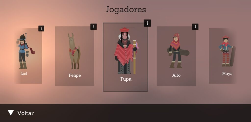 Alto's Adventure no menu, mostrando as diferentes personagens jogáveis
