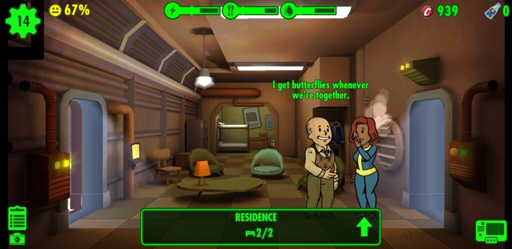 Fallout Shelter em destaque para módulo de residência, com dois dwellers em flerte