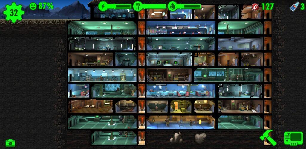 Fallout Shelter com 32 moradores e nove níveis