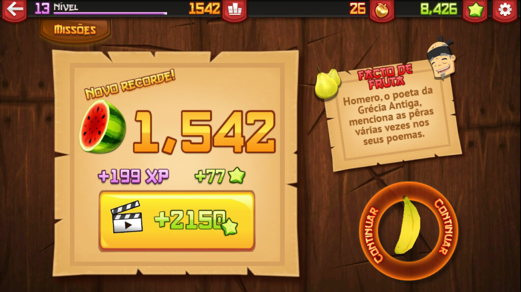 Fruit Ninja tela de recorde, final de modo arcade