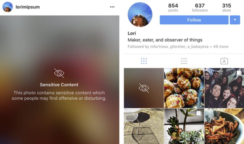 Borrão de conteúdo sensível do Instagram