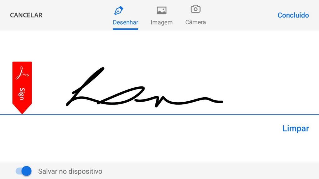 Desenhe sua assinatura utilizando um dedo ou caneta touch