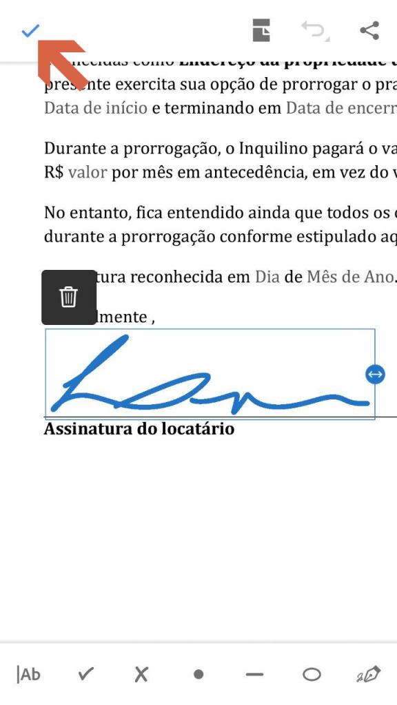 Ajuste o local da assinatura no documento e clique em salvar.