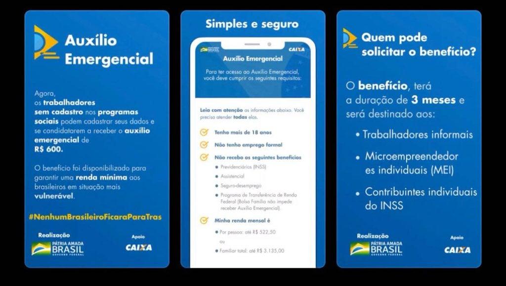 Telas do aplicativo caixa | auxílio emergencial