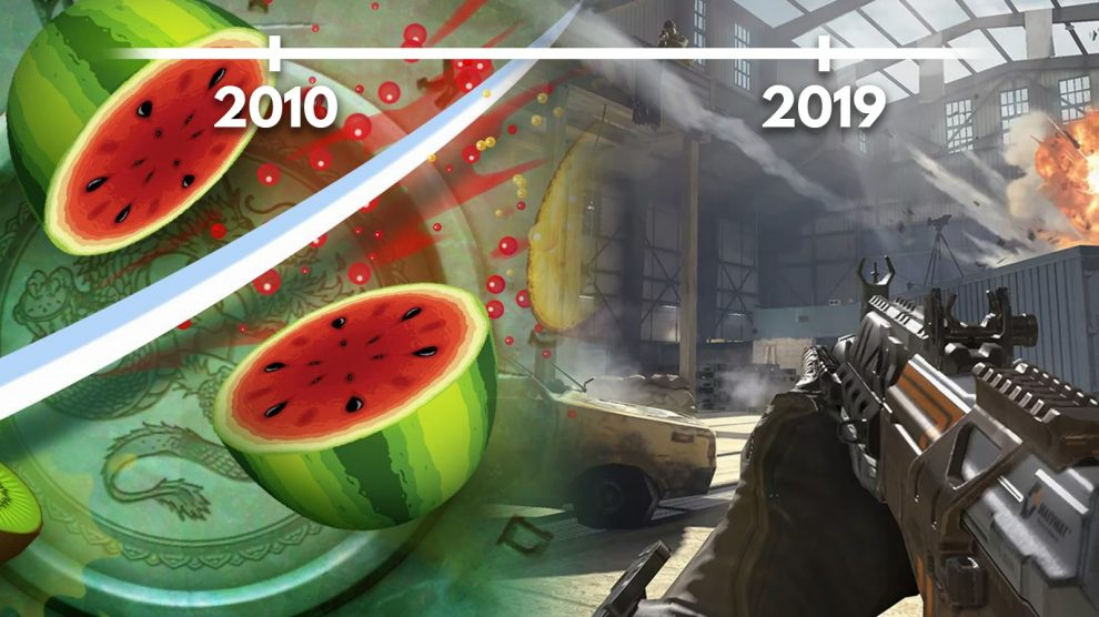 fruit ninja call of duty mobile e linha do tempo mostrando 2010 - 2019