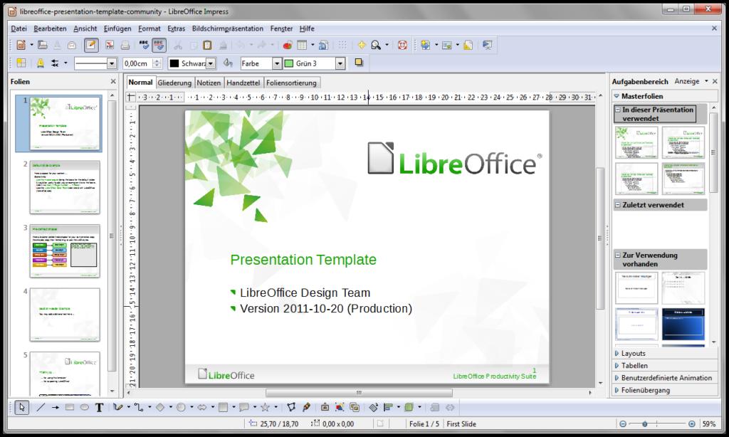 Apresentação de slides no Libre Office