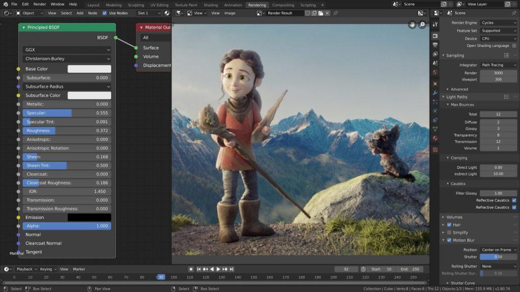 Vídeo animado em 3D sendo editado no Blender