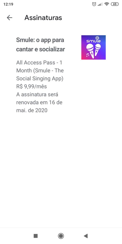 Cancelar assinatura android