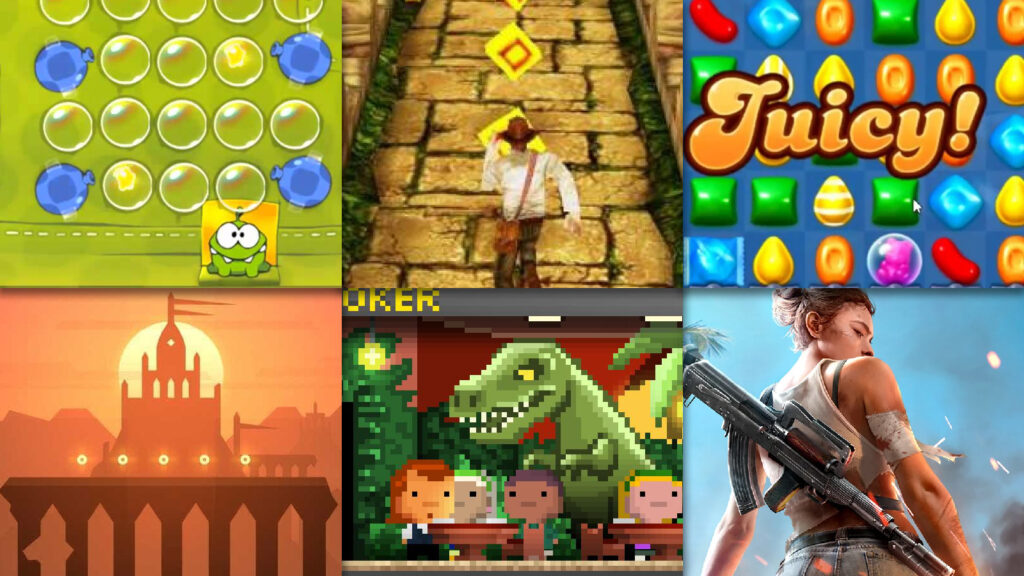 Cut the Rope, Temple Run, Candy Crush Soda Saga, Alto's Odyssey, Tiny Tower, Garena Free Fire