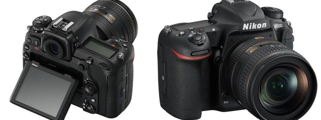 A Nikon D500 frente à um fundo branco