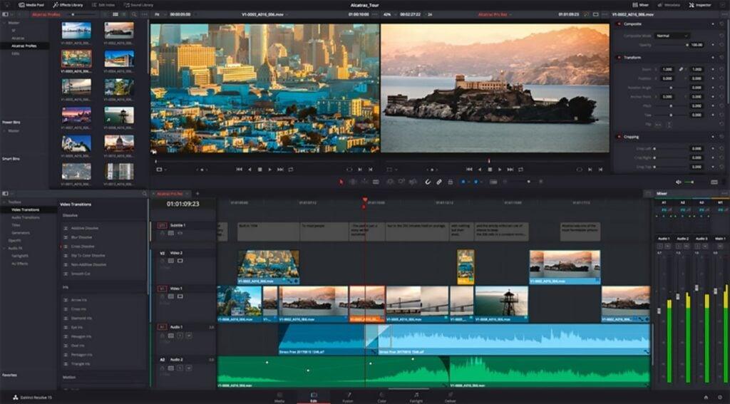 Tela de edição de vídeo do DaVince Resolve