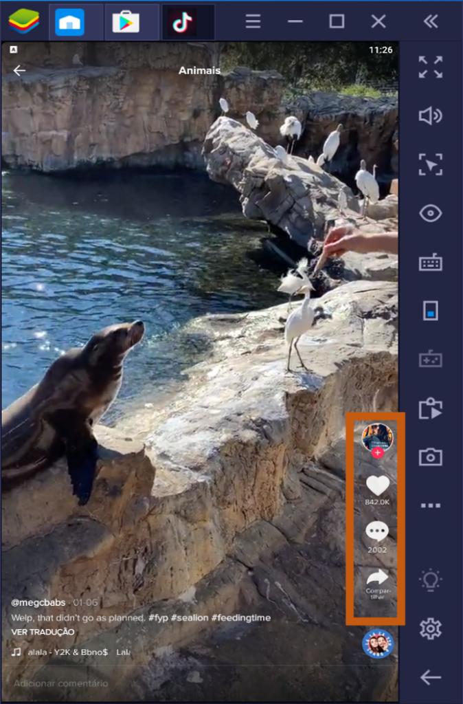 Botões de interação TikTok