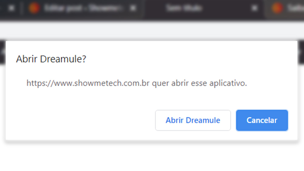 "Popup no google chrome, com texto ""abrir dreamule"""