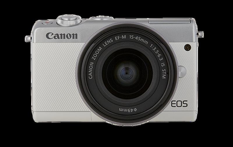 Canon EOS M100 frente à um fundo branco