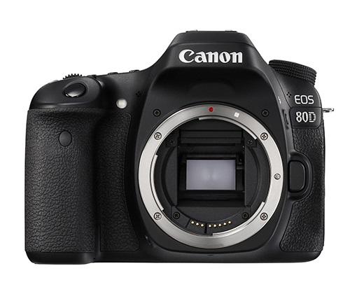 A Canon 80D frente à um fundo branco