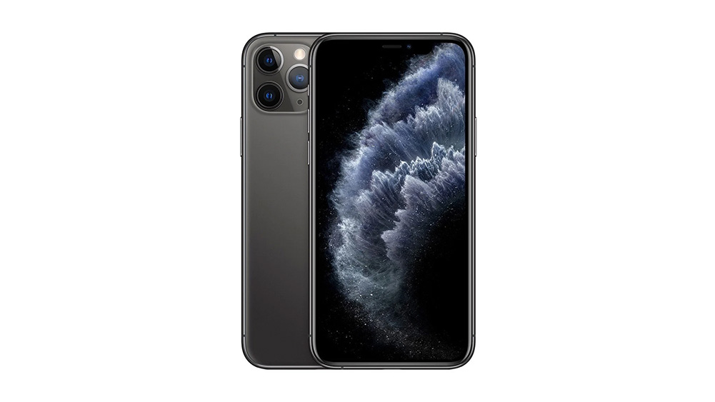 Iphone 11 pro de frente e parcial traseira, na cor cinza escura. Papel de parede com água jorrando