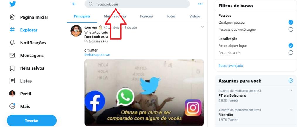 Página do Twitter para pesquisar se o Facebook caiu