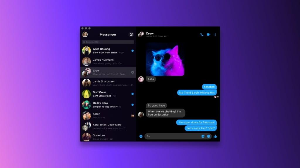 Tela do app Facebook Messenger