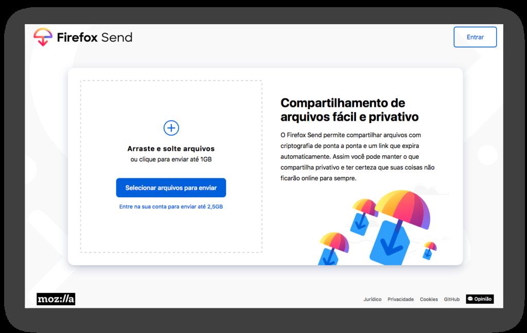Captura de imagem da página inicial para envio de arquivos do Firefox Send