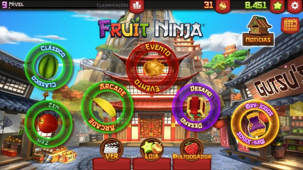 Fruit Ninja tela inicial do jogo, mostrando todos os diferentes modos jogáveis