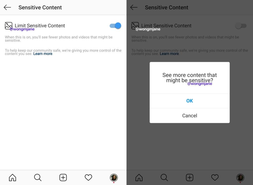 Screenshot da nova função de conteúdos sensíveis do Instagram