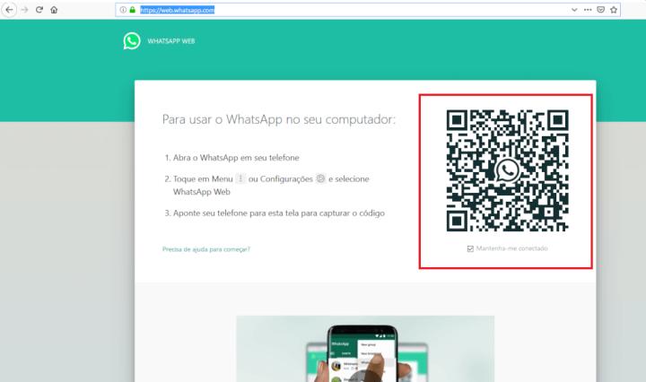 Página com o QR Code para acessar o WhatsApp Web