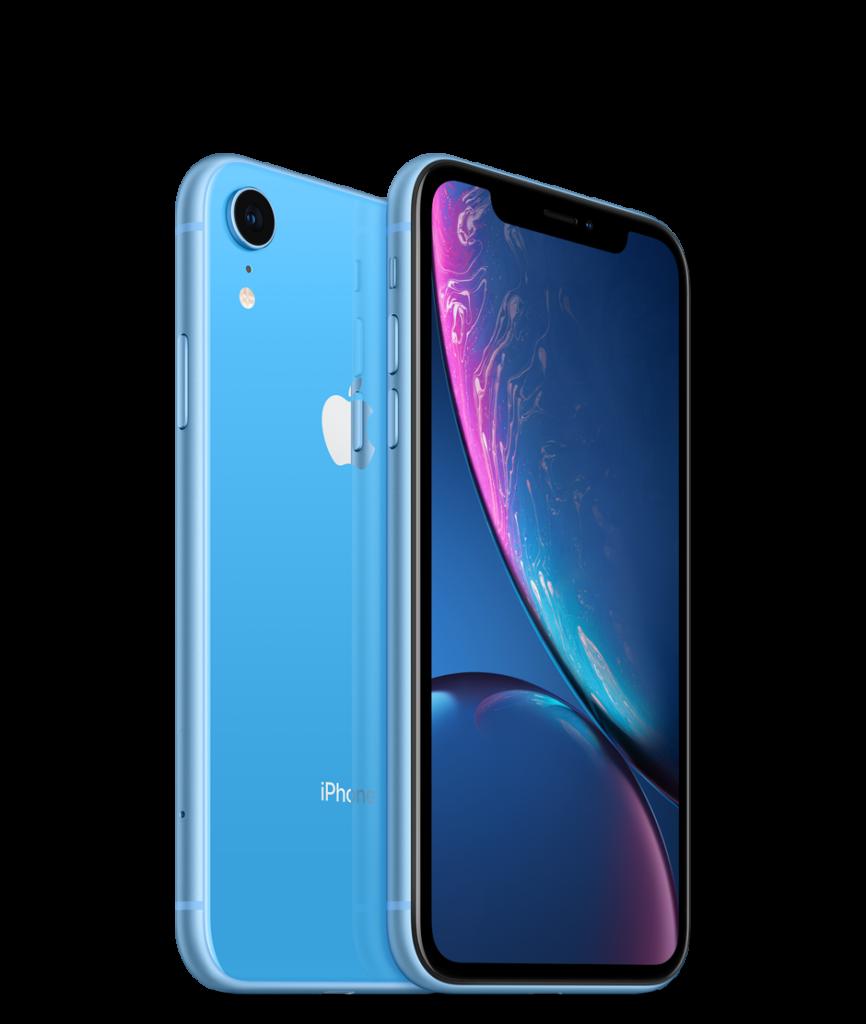 Imagem mostra dois iphones xr em azul. Um na parte trasira, onde está a câmera, flash e logo da apple, o outro com a tela e o corte para os sensores e câmeras no topo do display.