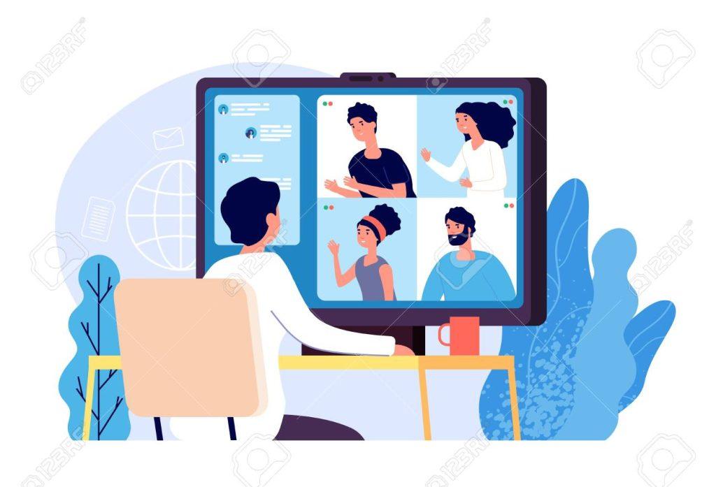 Pessoa conversando com grupo de pessoas em videoconferência no computador