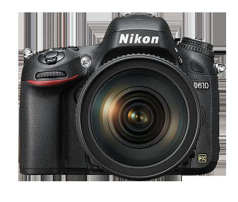 A Nikon D610 é umdas câmeras fotográficas frente à fundo branco