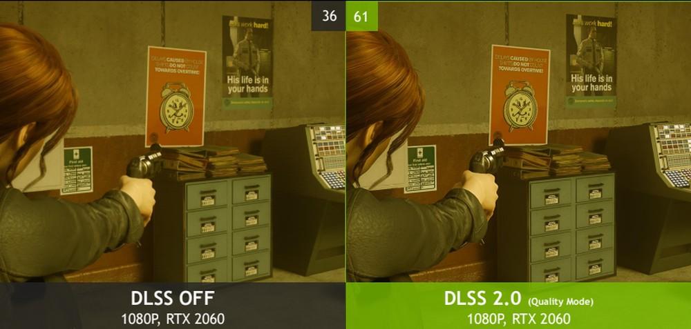 Comparativo entre imagens de um jogo com o dlss ligado e desligado disponibilizado pela nvidia