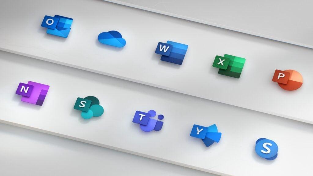 Ícones dos apps do Microsoft 365