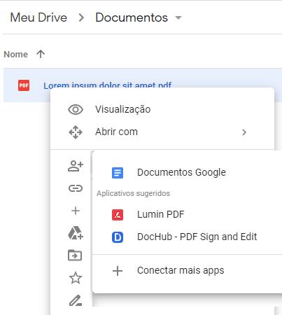 Abrir com Documentos Google