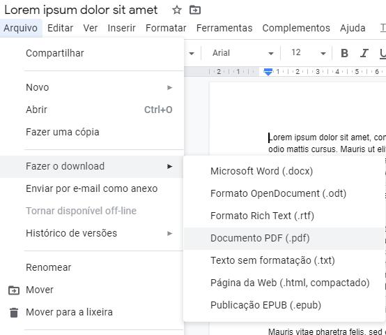 Salvar documento como PDF