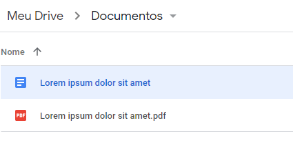 Arquivio criado no Google Docs