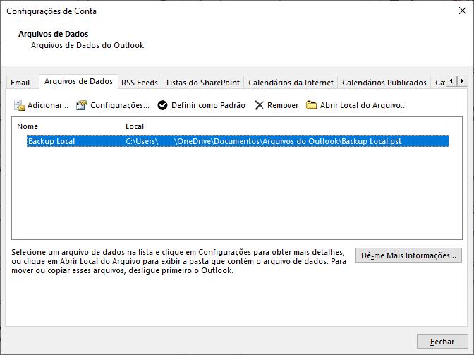 menu de configurações de conta, indicando área de backup local do sistema no outlook