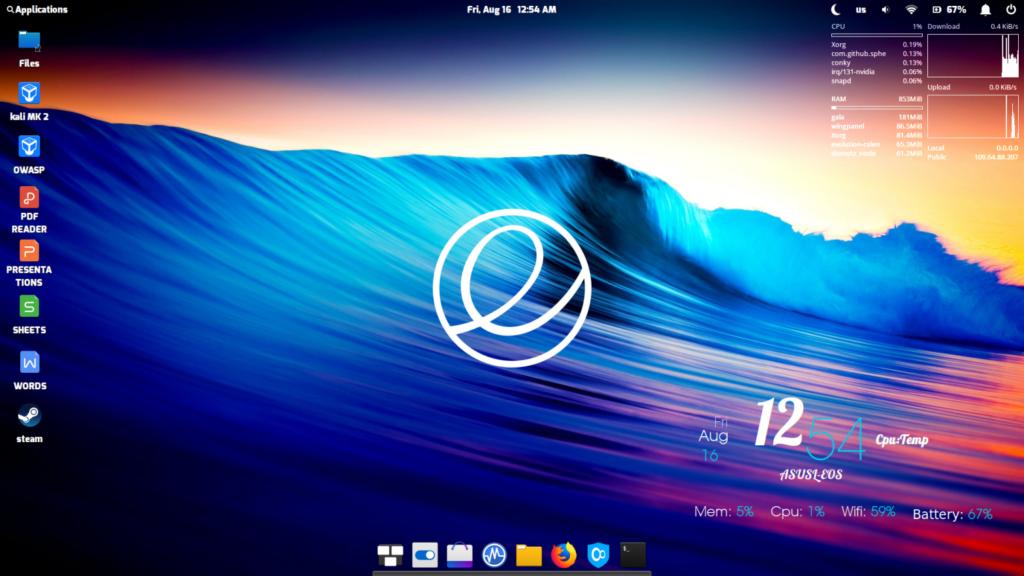 Área de Trabalho personalizada do Linux