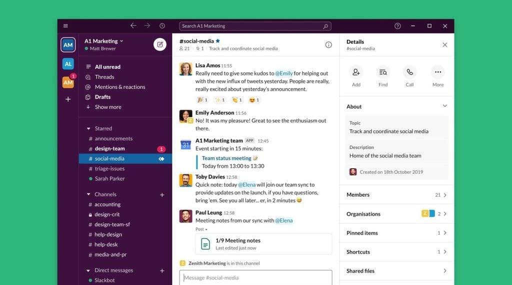 Tela do app Slack