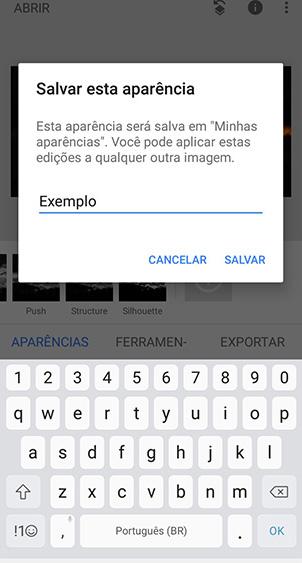 Snapseed, aplicativo no android, com pop-up de salvar aparência, seguido pelo gerenciamento de aparências