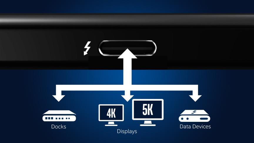 thunderbolt e saída de imagem para docks, telas 4K e 5K e dispositivos de dados