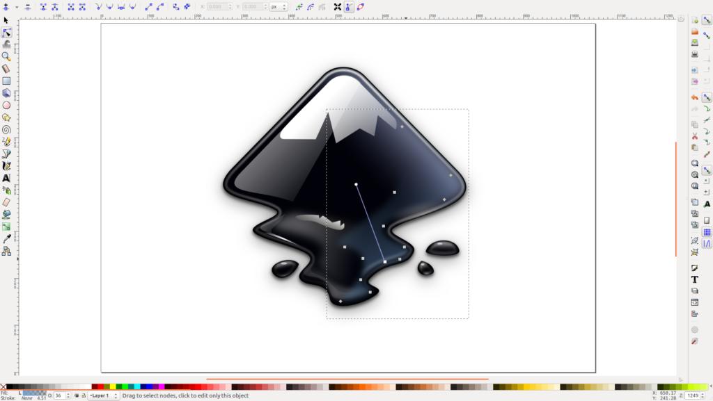 Logo do Inkscape sendo manipulado