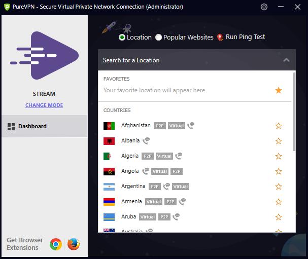 Tela de escolha do país para configurar o PureVPN