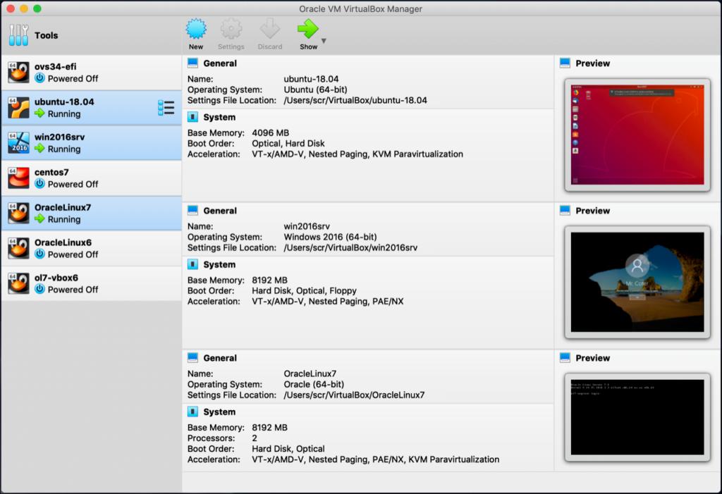 Tela inicial do VirtualBox