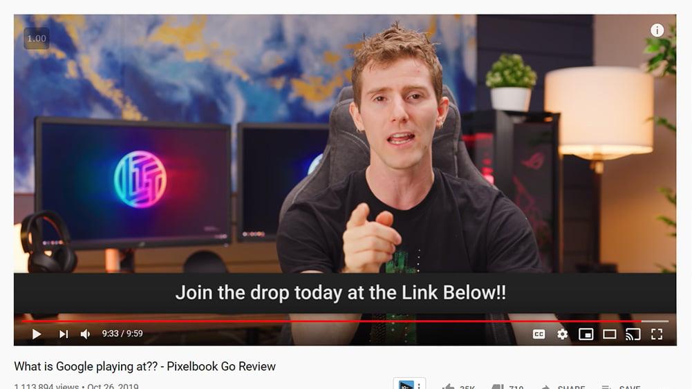 Linus, apresentador do linus tech tips, em propaganda de vídeo sobre pixelbook go