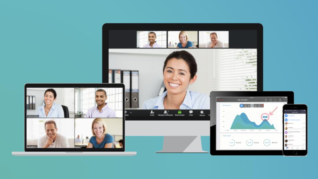 Aplicativos de videoconferência em várias telas