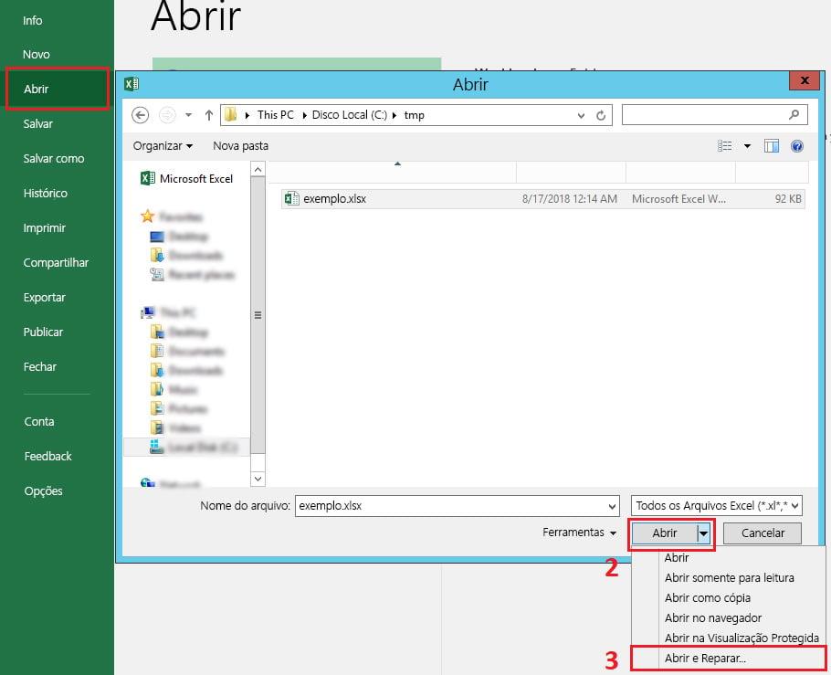Excel abrir e reparar arquivo corrompido